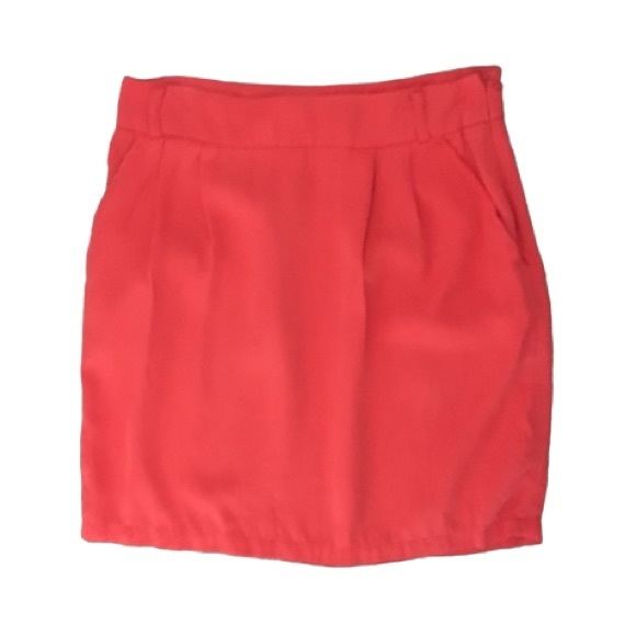 Coral Pink Pencil Mini Skirt with Pockets by F21